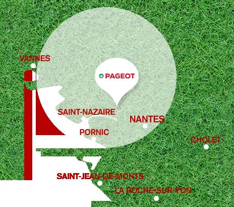 Carte représentant la zone de chalandise de l'Ets Pageot